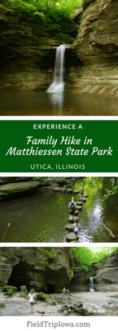 Kayak Camping State Parks - A Family Hike in Matthiessen State Park is the perfect place to see stunning waterfalls and beautiful canyons. A path along the streambed lets visitors take in all the beauty. Illinois State Parks, Utica Illinois, Wisconsin State Parks, Southern Illinois, Starved Rock State Park, Kayak Camping, Camping Cabins, Camping Hammock, Day Trips