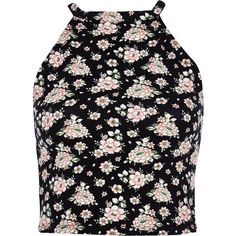 River Island Black ditsy floral racer front crop top ($14) ❤ liked on Polyvore featuring tops, crop tops, tank tops, emilia tops, black, sale, crop tank, crop tank top, high neck tank top and crop top