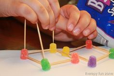 building with toothpicks   great for developing the small intrinsic muscles of the fingers.Copying a shape is good for developing visual perceptual skills