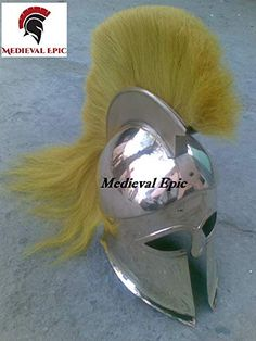 Medieval Epic Greek Corinthain Helmet With Yellow Plume Medieval Epic
