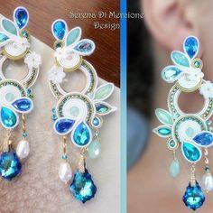 Soutache Earrings, Ring Earrings, Shibori, Beach Crafts, Mother Pearl, Handmade Accessories, Beaded Embroidery, Jewelery, Beadwork