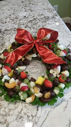 Chocolate dipped fruit wreath for Christmas