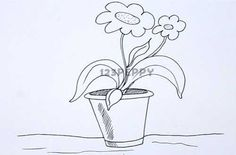 How to draw Flower Pot - Basic Drawings - Flower Drawings - Object Drawings - Drawing for kids