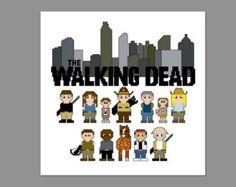 Walking Dead Season 1 Atlanta Pixel People Character Cross Stitch PDF PATTERN ONLY