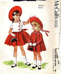 Vintage pattern for girl's dress and coat by Helen Lee