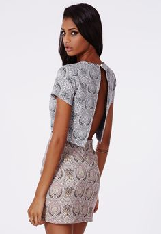 Blue Woven Paisley Shift Dress