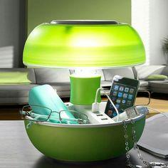 Joyo - Light solution Lampada Da Tavolo Svuotatasche Con Prese Usb Light Verde Ø 25x27,2 cm