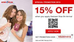 Please apply promotion code: VS201415 at the link: http://www.vietnam-evisa.org/apply-visa.html
