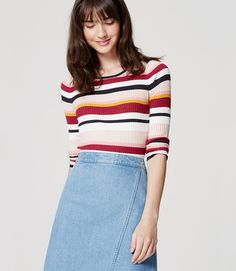 In irresistible candy colors, this block striped knit is a total treat. Rose Sweater, Ribbed Sweater, Petite Sweaters, Sweater Shop, Color Block Sweater, Striped Knit, Dress Codes, Fashion Pictures, Pattern Fashion