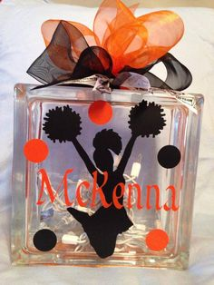 Personalized Cheerleading Glass Block by MorrisMonogramming on Etsy