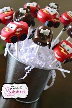 Cars themed cake pops  www.facebook.com/cakepoppin Cars Cake Pops, Cars Theme Cake, Lightning Mcqueen Party, Lightening Mcqueen, Disney Cars Cake, Birthday For Him, 5th Birthday, Birthday Cakes, Birthday Ideas