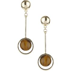TopShop Semi Precious Drop Earrings ($12) ❤ liked on Polyvore featuring jewelry, earrings, brown, semi precious stone earrings, brown earrings, topshop, circle earrings and topshop jewelry