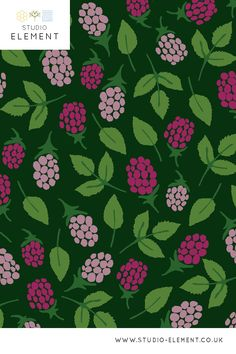 A fun, fruity print with a playful raspberry motif. Created by Belma Kapetanovic of Studio Element in London, UK - Bold, graphic designs inspired by unusual natural objects or phenomena. Click to visit my website, see more designs and commission work Pattern Design, Print Design, Graphic Design, Fruit Seeds, Seed Pods, Green Print, Modern Rugs, Different Shapes, Pink And Green