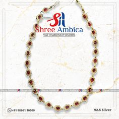 Sleek Necklace with semi precious stones in 92.5 Silver by Shree Ambica - Your Trusted Jewellers. Pick this for the upcoming festive/wedding season. Readily available in stock Call/WhatsApp - +91986611050 #hyderabadshopping #southindianbride #southindianjewellery #specialasyou #heritagejewellery #bridesmaids #weddinginspiration #bridaljewellery #shopping #goldjewellery #goldcolour #traditional #diamondnecklace #ShreeAmbica #silver #silverjewellery #trustedjewellery South Indian Bride, Jewellery Designs, Silver Jewellery, Wedding Season, Bridal Jewelry, Bridesmaids, Festive, Stones, Wedding Inspiration