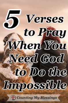 5 Verses to Pray When You Need God to Do the Impossible The Bible says, Nothing is impossible for God. These 5 prayers will help you pray when you need Him to do what only He can do in your impossible circumstances. Prayer Times, Prayer Scriptures, Bible Prayers, Faith Prayer, God Prayer, Power Of Prayer, Prayer Quotes, Faith In God, Bible Verses