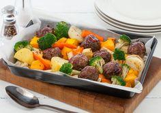 Glazed Meatball Bake by Beef + Lamb New Zealand Easy Baking Recipes, New Recipes, Real Food Recipes, Dinner Recipes, Cooking Recipes, Healthy Recipes, Simple Recipes, Family Recipes, Yummy Recipes