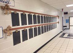 My hallway bulletin board for the year - burlap chevron ribbon, burlap ribbon, & handmade display boards and name tags. :-)