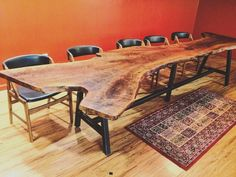 This slab makes a statement. They aren't messing around. well done! The table base used is a variation of our 'Big Alpine' base  | symmetry hardware | industrial design | diy | diy table | handmade furniture | steel legs | table base | modern | industrial | handmade | interior design | diy furniture | work space| meeting room | conference room |  https://steeltablelegs.com