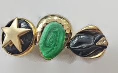 Upcycled Hair Barrette on French Clip Repurposed Hair Accessories Green Black and Gold with a...