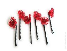 Horquillas de encaje rojo de ropas conjunto de 6 por LandOfLaces