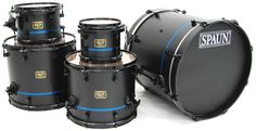 Spaun Drums: Flat Black with Sparkle Blue Pinstripe.  Sweet.