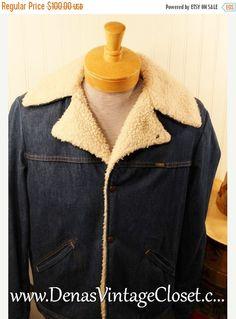 4ef1cbad69 50% OFF SALE Vintage Mens Wrangler Indigo Denim Wrange Coat Range Jacket  Sherpa Fleece Lining