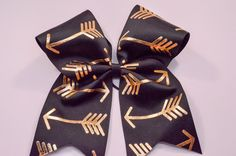 """Black and Gold Arrows Cheer Bow - Gold Foil on Grosgrain Ribbon - 7"""" across by 8"""" down - Purchase 1 or more - Ask for pricing for team orders"""
