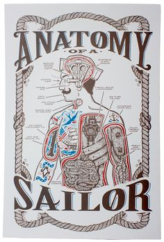 ANATOMY OF A SAILOR. Hand screen printed illustration from Maiden Voyage.