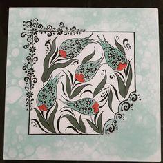 """42 Beğenme, 1 Yorum - Instagram'da Ayşegül özdemir Aytemiz (@aysegulaytemiz): """"25lik karo fırın öncesi #çini #tileart #lale #elemeği #göznuru"""" Painting Ceramic Tiles, Turkish Design, Turkish Tiles, Hand Painted Ceramics, Calligraphy Art, Tulips, Stoneware, Pattern, Handmade"""