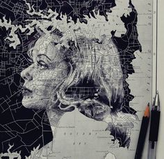 In an intriguing blend of cartography and illustration, UK artist Ed Fairburn uses maps as his canvases for stunning ink and pencil portraits. Faces are fr Ed Fairburn, Art And Illustration, Portrait Illustration, Art Inspo, Kunst Inspo, Inspiration Art, Art Du Monde, Art Et Design, Urbane Kunst