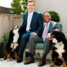 Continuing on yesterday's theme with this handsome couple, who got to tie the knot after 17 years when same-sex marriage was first legalized in DC, and their pups for #flashbackfriday. {image @theobservatorydc} #bellanotteweds