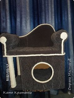Приветствую всех жителей СМ. Наш любимец - Крысилий очень любит всякие коробки, пуфики и диваны, вот решила сотворить ему свой собственный. это мой первый кошачий дом. размер: Длина - 53см, высота - 55 см, ширина - 32 см. фото 9