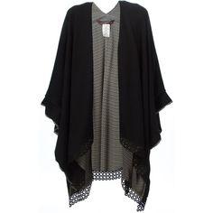 Antonia Zander Embroidered Hem Knit Kaftan (16 335 ZAR) ❤ liked on Polyvore featuring tops, cardigans, outerwear, jackets, kimono, black, caftan tops, knit cardigan, black kimono and black top