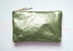 O L I V E METALLIC Leather Clutch Army Green by GiftShopBrooklyn, $88.00