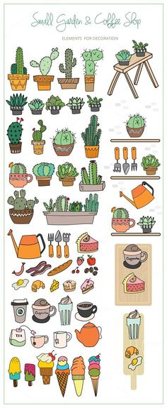 Small Garden & Coffee Shop Color Set - Illustrations