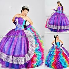 2012 new design rainbow ball gown prom dress(China (Mainland))
