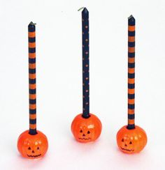 5 Halloween Orange Amp Black Mini Taper Candles 12