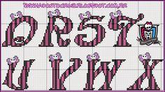 Olá meninas hoje mais monogramas coordenados com os gráficos da Carina Cassol , dessa vez são a baby Monster High Frankie:                 E...