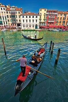 Gondolas on the Grand Canal near Rialto, Venice, Italy