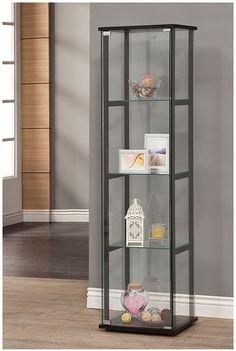 Coaster 950171 Contemporary Glass Curio Cabinet, 3 Glass Shelves made of temper glass