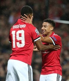 Marcus Rashford of Manchester United celebrates scoring their third goal during the UEFA Champions League group A match between Manchester United and. Lingard Manchester United, Manchester United Football, Rugby Players, Football Players, Manchester United Wallpapers Iphone, Football Match, Football Fever, Football Stuff, Jesse Lingard