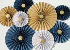 Nautical Blue and Gold Paper Rosettes Paper by PicketFenceArts