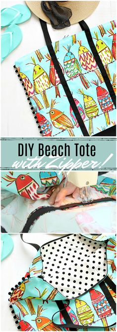 DIY beach tote with zipper