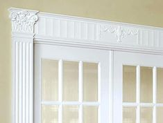 Renaissance Door Trim: This doorway features an Adornador® surround built with 6 inch Renaissance coped capitals, a frieze, and 6 inch fluted pilasters. All items are part of the Adornador® Door Trim System. Door Casing, Decorative Mouldings, Door Trims, Habitat For Humanity, Doorway, My Dream Home, Valance Curtains, Garage Doors, Layout