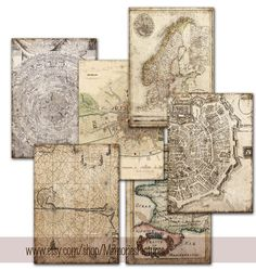 INSTANT DOWNLOAD. Backgrounds, decoupage, world maps on vintage papers scrapbooking ,  Digital Collage Sheets   to Download Tp2 on Etsy, $3.90