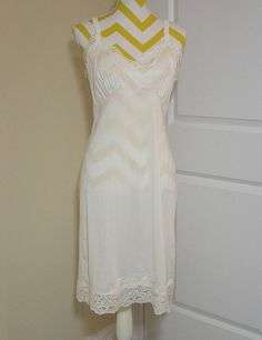 1970s or Earlier Full Length Ivory Nylon and by VictorianWardrobe