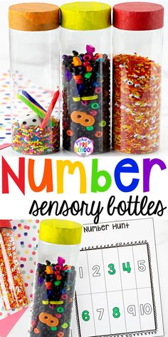 How to make number sesnory bottles and FREE Number Hunts! Fun number recognition game for preschool, pre-k and kindergarten. Counting Activities, Sensory Activities, Hands On Activities, Preschool Activities, Number Activities, Educational Activities, Math Games, Sensory Bottles, Sensory Bins