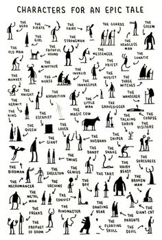 Fun creative writing- characters you need for an epic tale by tom gauld. students choose one, three, ten -- then write!