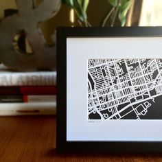 Hand cut paper cut map of Leslieville in Toronto, ON Cut Paper, Paper Cutting, Toronto, Maps, My Etsy Shop, Home And Garden, Frame, Interior, How To Make