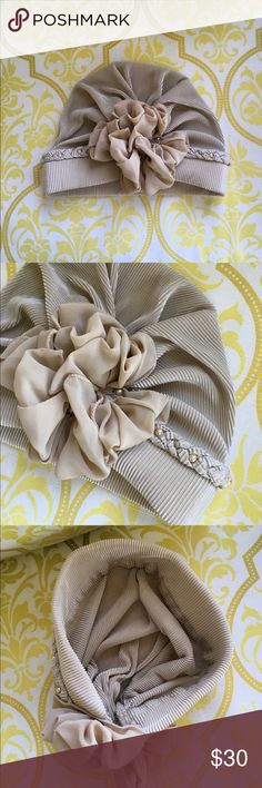 NWOT TURBAN HAT - Details  NWOT. Beautiful Turban Hat with lovely details. I'm not a hat person - clearing my collection. See my other hat listings for discount bundling. Accessories
